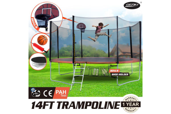 GENKI  14FT Trampoline FREE Basketball Set and Safety Net with Spring Pad Cover
