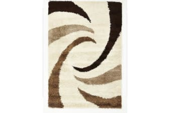 Dense Beige, Brown Cream Swirl Design Rug