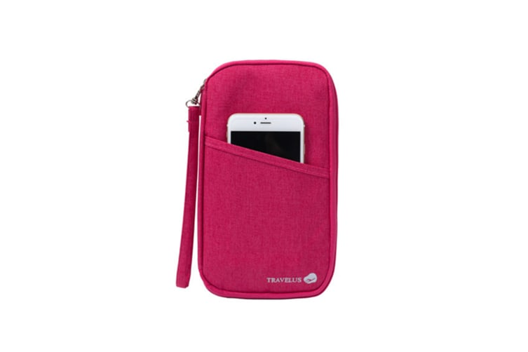 Multi-Function Travel Document Package Zipper Multi-Card Package - Rose Red Red