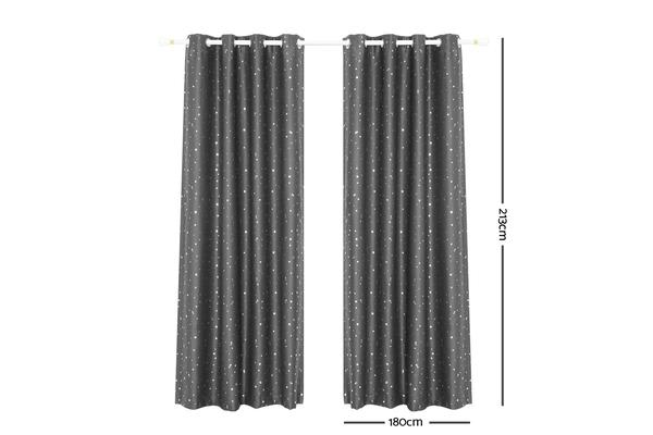 Art Queen 2 Star Blockout 180x213cm (Black)out Curtains (Grey)