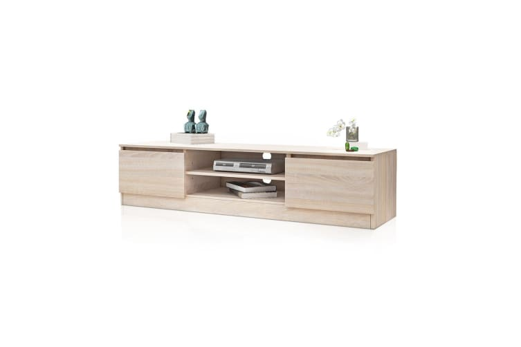 Wooden Storage Cabinet TV Stand with 2 Doors - Oak