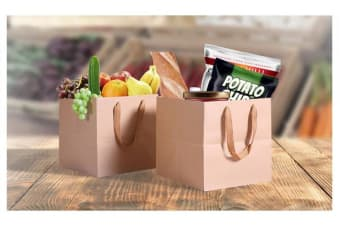 50 x Kraft Brown Paper Carry Bags 25(L)x25(W)x25(H)cm
