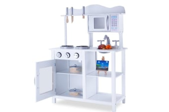 NEW ROVO KIDS Wooden Kitchen Vintage Pretend Play Set Retro Toy Cooking Cookware