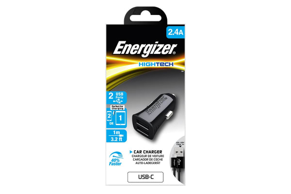 Energizer Hightech 2.4A 2-Port USB Car Charger - Black