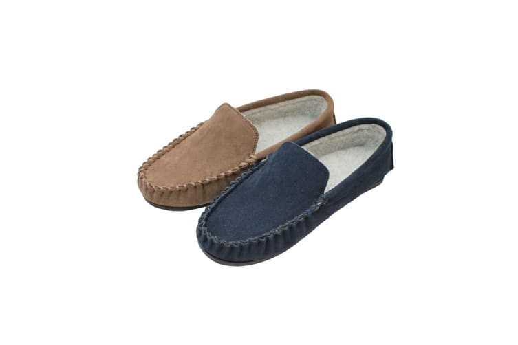 Eastern Counties Leather Mens Berber Fleece Lined Suede Moccasins (Navy) (10 UK)