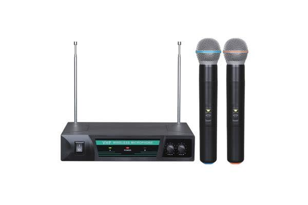Wireless Microphone Vhf Dual Channel Twin Mic Case Tjp-Hh52