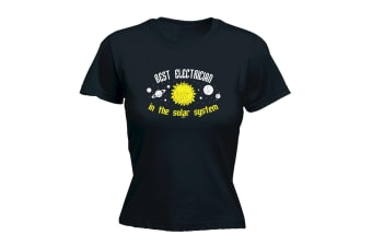 123T Funny Tee - Best Electrician In The Solar System - (Medium Black Womens T Shirt)