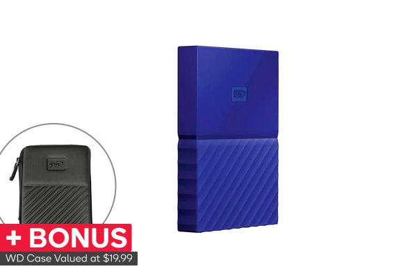 WD My Passport 1TB USB 3.0 Portable Hard Drive - Blue (WDBYNN0010BBL-WESN)