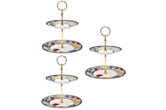 3PK Maxwell & Williams Teas & C's Contessa 2 Tiered Porcelain Cake Stand White