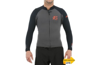 JetPilot Flight 2X2 Front Zip Long Sleeve Jacket - Charcoal - X-Large
