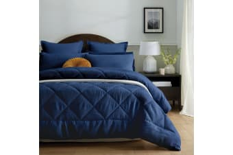 3 Piece Waffle Navy Jacquard Comforter Set by Accessorize