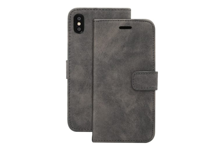 For iPhone XR Case Black Sheep Texture Folio PU Leather Cover