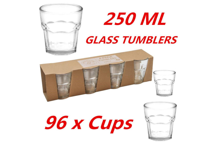 96 x 250ml Clear Glass Tumblers Drinking Cup Scotch Whisky Glasses Party Event M