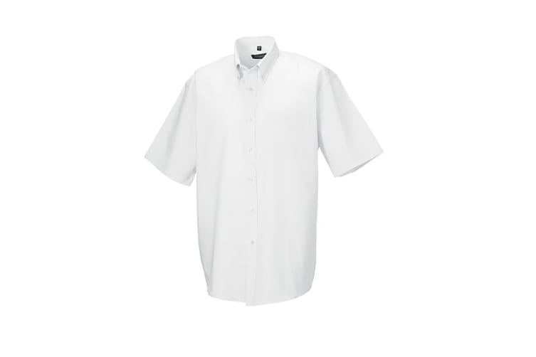 Russell Collection Mens Short Sleeve Easy Care Oxford Shirt (White) (16inch)