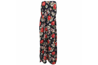 Womens/Ladies Floral Print Strapless Maxi Dress (Black with Floral Print)
