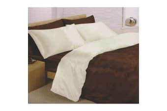 Charisma Satin Reversible Bedding Set (Duvet Cover  Fitted Sheet & Pillowcases) (Chocolate/Cream)
