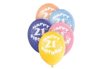 Unique Party Happy 21st Birthday Assorted Balloons (Pack Of 5) (Multicoloured) (Five Packs (25 balloons))