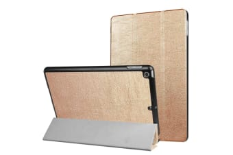 For iPad 2018 2017 9.7in Case Stylish Karst Textured 3-fold Leather Cover Gold
