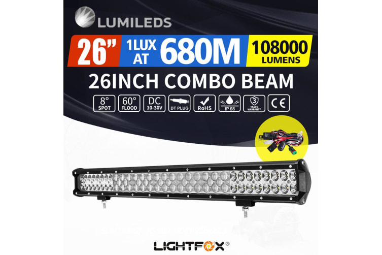 LIGHTFOX LightFox 26inch LED Light Bar Spot Flood Driving Driving Lamp Offroad 4WD 4X4