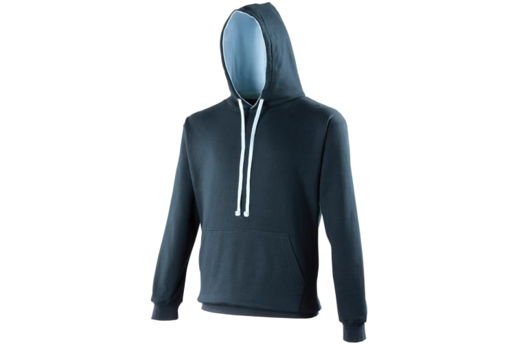 Awdis Varsity Hooded Sweatshirt / Hoodie (New French Navy/Sky Blue) (M)