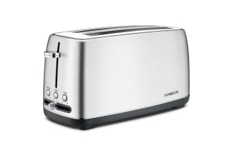 Kambrook 4 Slice 1550W Long Slot Toaster/Toast/Bread KTA470BSS Stainless Steel