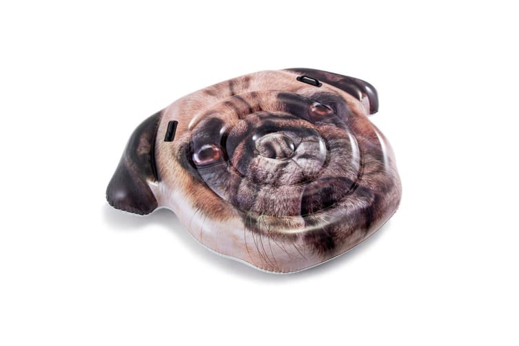 Intex 1.73m Pug Dog Face Island Inflatable Swimming Pool Float w/ Handles Brown