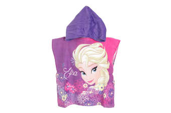 Frozen Childrens/Kids Elsa Towelling Poncho (Pink) (One Size)