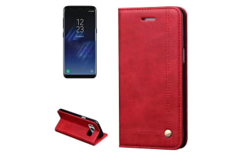 For Samsung Galaxy S8 Wallet Case Stylish Retro Wild Horse Leather Cover Red