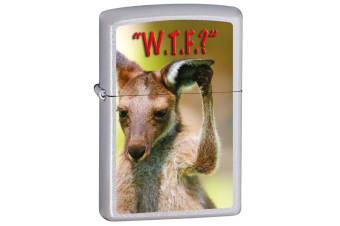 Zippo Kangaroo Question Genuine Satin Chrome Finish Cigar Cigarette Lighter