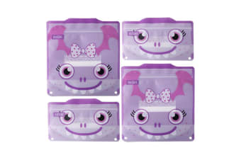 4pc Russbe Kids School Reusable BPA Free Snacks & Sandwich Bags Purple Monster