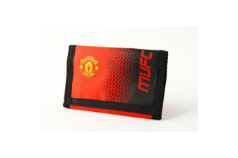 Manchester United FC Official Fade Touch Fastening Football Crest Wallet (Red/Black)