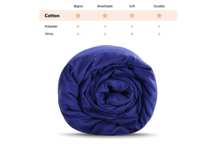 Dreamz 198X122CM Blue Cotton Zipper Weighted Blanket Cover Washable Protector