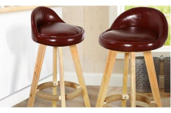 2 x Wooden Bar Stools Swivel Padded Leather Seat Dining Chairs Kitchen CHOCOLATE