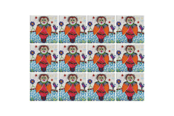 12pc Maxwell & Williams Smile Style Ceramic Tile Coaster Boobook 9cm Placemat