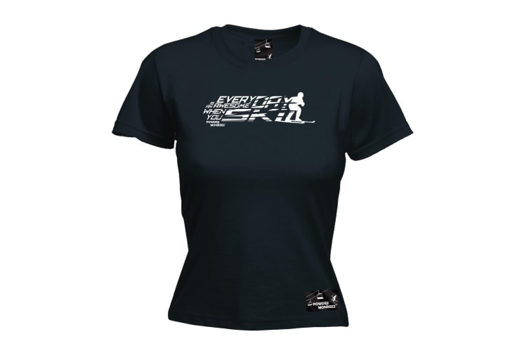 Powder Monkeez Skiing Tee - Ski Everyday Is Awesome When You - (Small Black Womens T Shirt)