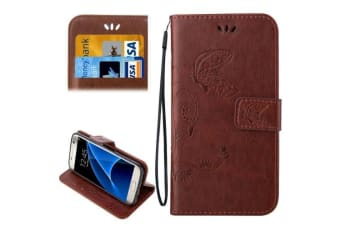 For Samsung Galaxy S7 Wallet Case Elegant Horse Leather Protective Cover Coffee