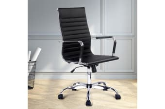 Artiss Eames Replica Premium PU Leather Office Chair Executive Work Computer Seat Black