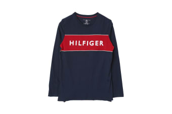 Tommy Hilfiger Men's Block Logo Long Sleeve Tee (Dark Navy)