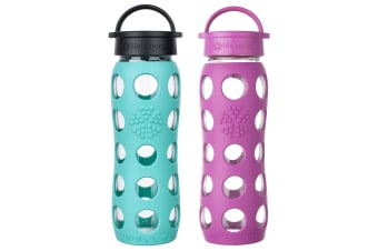 2pc Lifefactory 650ml Glass Bottle Classic Cap w  Silicone Huckleberry Sea Green