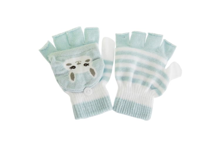 Childrens/Kids Cat Striped Gloves/Mittens With Glitter (1 Pair) (Blue) (One Size)