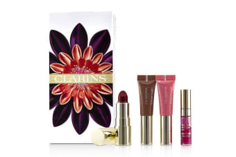 Clarins Love Your Lips Collection (2x Lip Perfector, 1x Lipstick, 1x Lip Comfort Oil) 4pcs