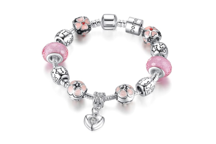 Pandora Inspired Full Set Beaded Charm Bracelet Pink