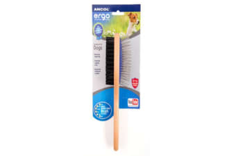 Ancol Heritage Double Sided Dog Brush (Brown) (8 x 5cm)