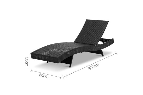 Set of 2 Outdoor Sun Lounge (Black)