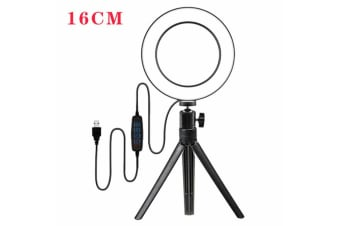 "10"" Phone Selfie Ring Light with Stand Dimmable For Makeup Video Shooting Live 6 LED"