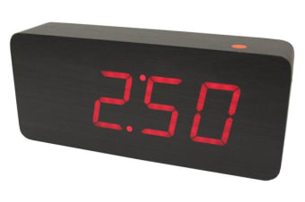 Red Led Wood Grain Alarm Clock Temperature Display Mains Battery Black 6016