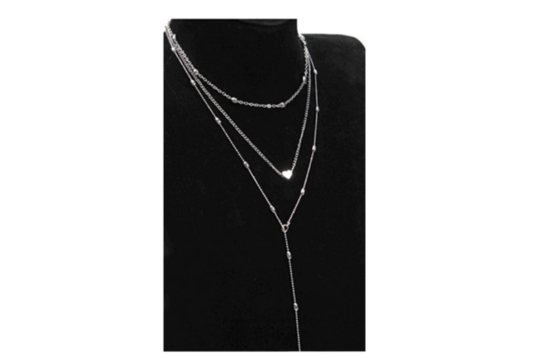 Chic Bohemian Beads And Heart Multilayer Long Necklace Silver