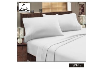 Flannelette Egyptian Cotton Sheet Set White KING SINGLE