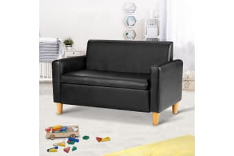 Artiss Storage Kids Sofa Children lounge Chair Couch PU Leather Padded Black