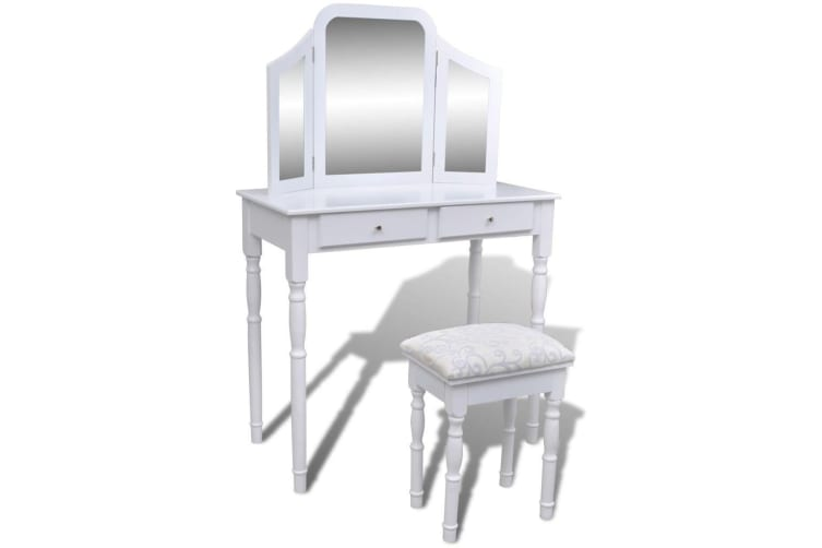 vidaXL Dressing Table with 3-in-1 Mirror and Stool 2 Drawers White
